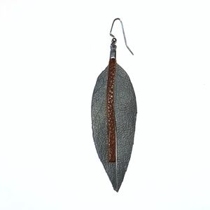 Single Leather Leaf Earring or Necklace Pendant